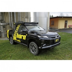 Dachträger NAVIS Mitsubishi L200 flach Alu schwarz optional mit Reling by horntools Offroad 4x4 Dachzelt